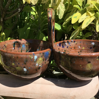 Double Chutney or Olives Server. Mayonnaise, Dips or Mustard.Hand Thrown