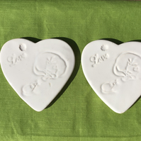 Valentines Gift.Set of 2 Extra Large Plain White Cat and Mouse Heart Coasters.