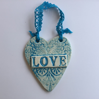 "Vintage Style Ceramic Turquoise Lace ""LOVE"" Heart, Ceramic Plaques, Pottery, Hom"