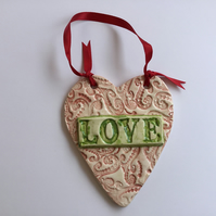 "Vintage Style Ceramic Lace Heart with ""LOVE""Ceramic Plaques, Pottery, Home Decor"
