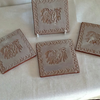 4 Equestrian Coasters, Horses, Dining, Tableware, Pottery, Ceramic Coasters