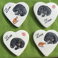 Set of 4 Cat and mouse coasters. Mothers Day Gift. Valentines Gift.