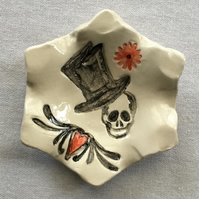 Valentines Day Gift. Day  of the Dead Ring Dish.Goth.Biker.Skull.