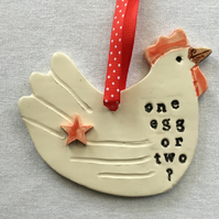 "Hen Wall Hanger. ""One Egg Or Two "" Kitchen Decoration. Farmhouse Decor"