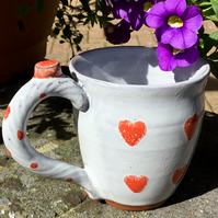 Mother's Day Gift..Wheel Thrown Espresso Mug. Tin Glazed with Red Hearts.
