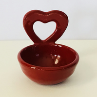Single Red Dip Dish with Heart Shaped Handle. Tableware. Kitchenware. Dining.