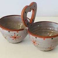 Christmas Star Double Dips Server. Hand Painted Studio Pottery. Christmas Table.