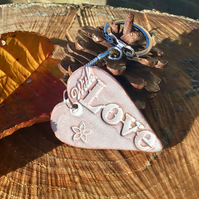 "Valentines Gift, Mothers Day Gift. Ceramic Heart Keyring. ""With Love"""