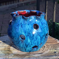 Gorgeous Peacock Blue and Fiery Orange Tea Light.Candle Holder.Potpourri Bowl