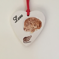 Ginger Tabby Cat Wall Hanger. Handmade Ceramics. Valentines Gift. Mother's Day