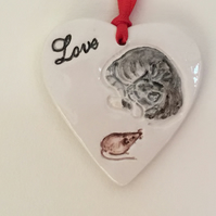 Grey Tabby Cat Wall Hanger. Handmade.Hand Painted. Valentines Gift. Mother's Day