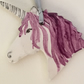 Unicorn Head Ceramic Wall Hanger. Handmade. Hand Painted. Purple Mane.