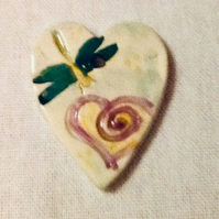 Ceramic Heart Pendant with Dragonfly. Valentines Gift. Handmade and Hand Painted
