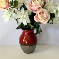 Red and RoSe Gold Vase. Wheel Thrown. Valentines Gift. Mother's Day Gift.