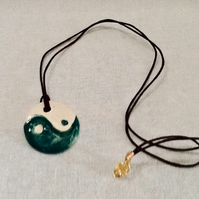 Yin and Yang Pendant, Ceramic Pendant, Valentines Gift. Mother's Day Gift.