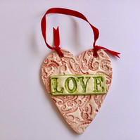 "Valentines Gift.Vintage Style Ceramic Lace Heart with ""LOVE"". Engagement Gift"