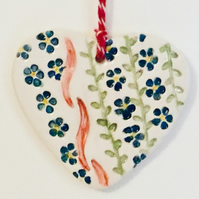 Choice of 3 Foget-Me-Not Ceramic Hearts. Valentines Gift. Mother's Day Gift