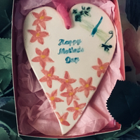 Ceramic Mother's Day Heart with Pink Flowers and Dragonfly