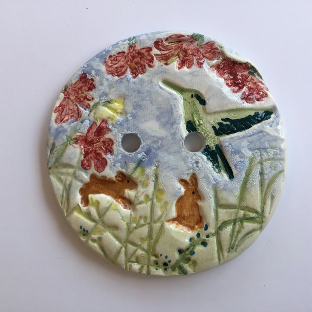 Handmade Ceramic Button Or Brooch. Bunnies and Hummingbird.Statement Button.