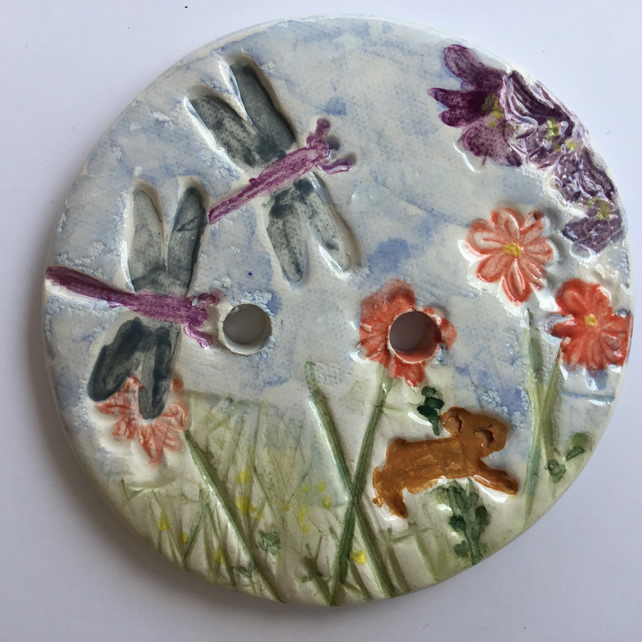Button or Brooch. Ceramic. Handmade. Bunny and Dragonflies. Hand Painted.