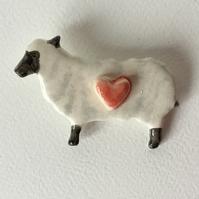 Sheep Brooch with Heart. Ceramic. Handmade and Hand Painted. Easter Gift.