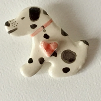 Ceramic Dalmation Dog Brooch. Handmade. Hand Painted. Mother's Day Gift