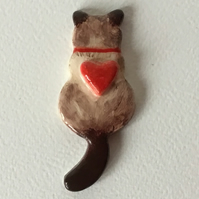 Siamese Cat Ceramic Brooch. Gift for Cat Lovers. Unique. Handmade. Hand Painted