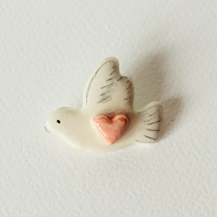 Ceramic White Dove with Heart Brooch. Gift for Her. Fashion Accessory. Jeweller.