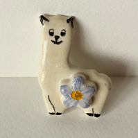 Llama Brooch with Forget-Me-Not. Ceramic. Handmade. Hand Painted.
