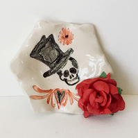 Day of the Dead Ring Dish. Incense Cones Dish,Skull Goths.Bikers Incense Burner