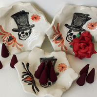 Day  of the Dead Ring Dish.Goth.Biker.Skull.Incense Burner.