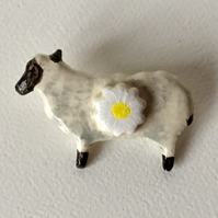Ceramic Sheep Brooch with Daisy. Fashion Accessory..