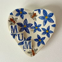 Soap Dish. Handmade Ceramic. Hand Painted. Gift for Mum