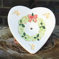 Christmas Wreath Handmade Ceramic Soap Dish