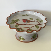 Christmas Cake Stand.Robin and Holly. Freehand Painted. Studio Pottery Tableware
