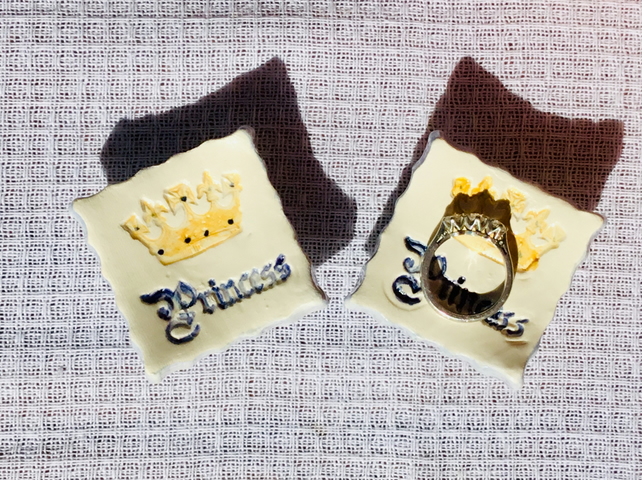 Tiny Princess Ring or Earring Dish with Crown. Gift for Girls. Handmade Pottery