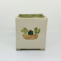 Square Handmade Planter with Cacti. Studio Pottery. Hand Painted. Home Decor.