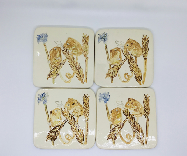 Set of Four Harvest Mice Coasters. Handmade and Hand Painted. Kitchen and Dining