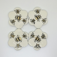 Bumble Bee Flower Shaped Ceramic Coasters