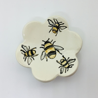 Ring or Trinkets Dish with Bumble Bees. Handmade Ceramic Studio Pottery