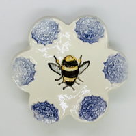 Bumble Bee Ring or Trinkets Dish. Handmade Studio Pottery