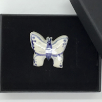 Blue and White Butterfly Brooch. Ceramic Handmade and Hand Painted. Mother's Day