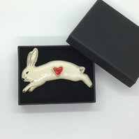 Running Rabbit Brooch with Heart