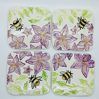 Set of Four Handmade Ceramic Coasters with Bumble Bees and Clematis. Mother's Da