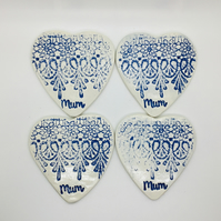 Blue Lace Patterned Shabby Chic Coasters. Set of Four. Mother's Day Gift.