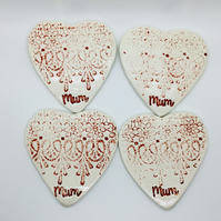 Set of Four Handmade Shabby Chic Lace Patterned Coasters. Mother's Day Gift