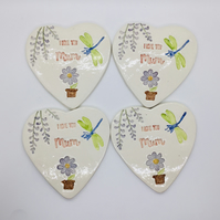 Set of Four Handmade Ceramic Coasters with Dragonflies. Mother's Day Gift