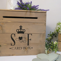 Personalised Rustic Wooden Wedding Card Post Box Vintage Wedding Card Box Card C