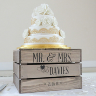 Personalised Rustic Wedding Cake Stand, Vintage Wedding Wooden Apple Crate Cake