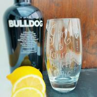 Hand engraved gin and tonic mixer glass with your own messages